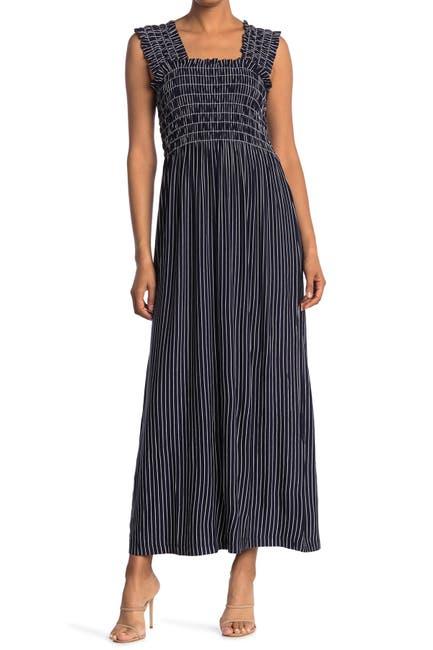 Image of Max Studio Striped Smocked Maxi Dress