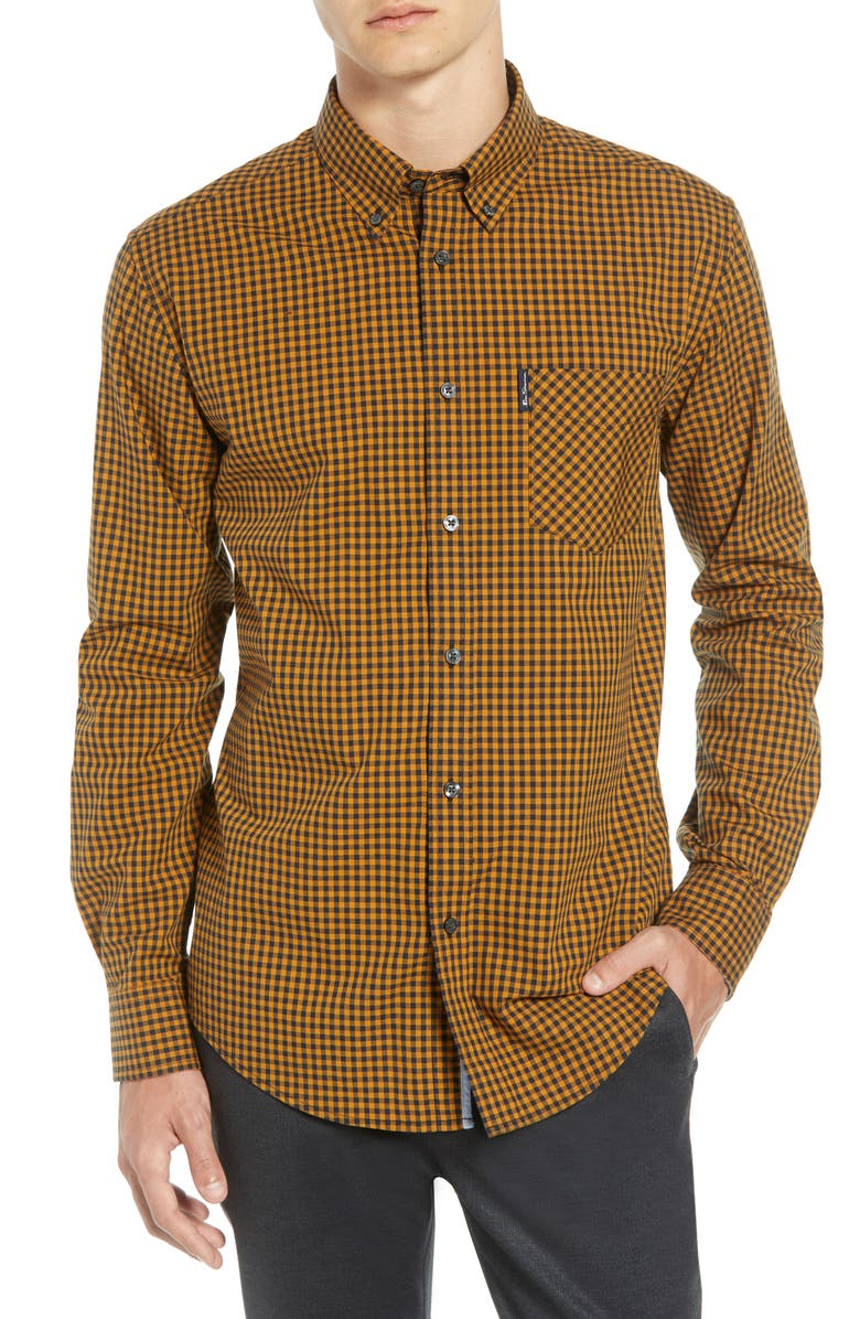 BEN SHERMAN Slim Fit Gingham Sport Shirt, Main, color, 800