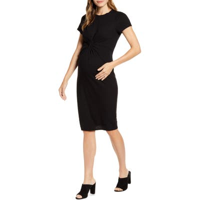 Fourteenth Place Knot Front Maternity Dress, Black