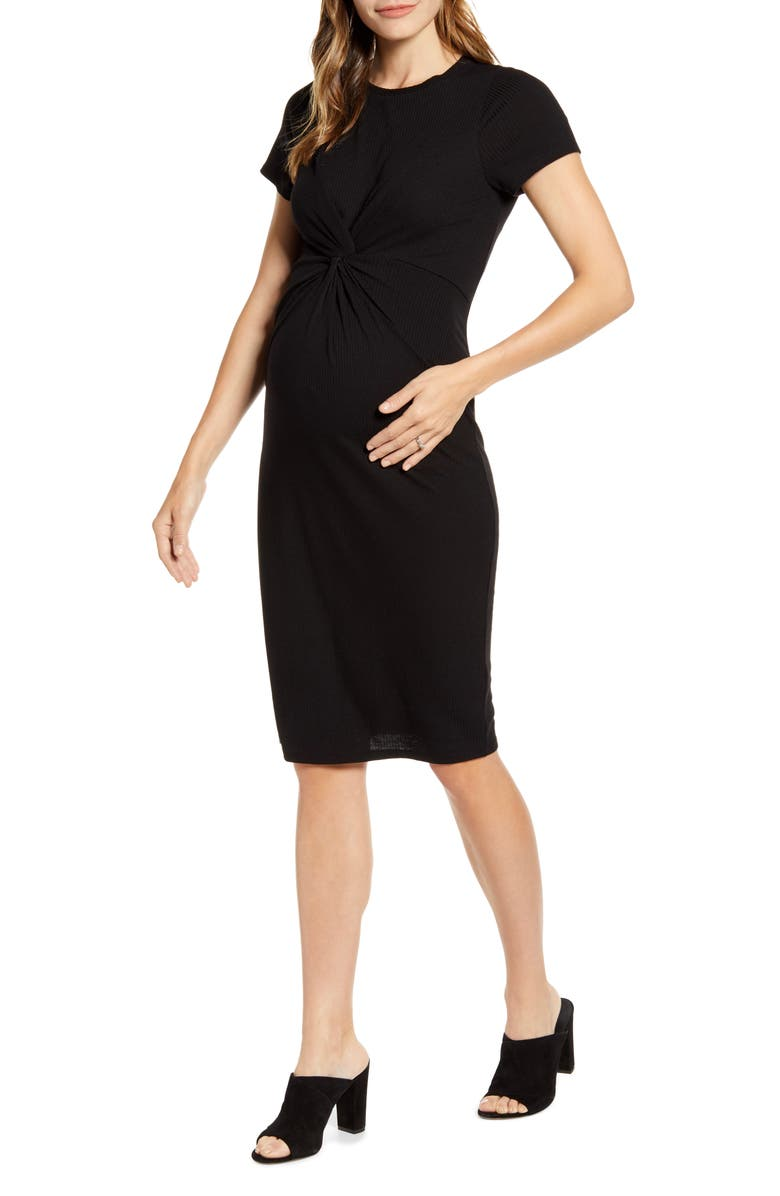FOURTEENTH PLACE Knot Front Maternity Dress, Main, color, BLACK