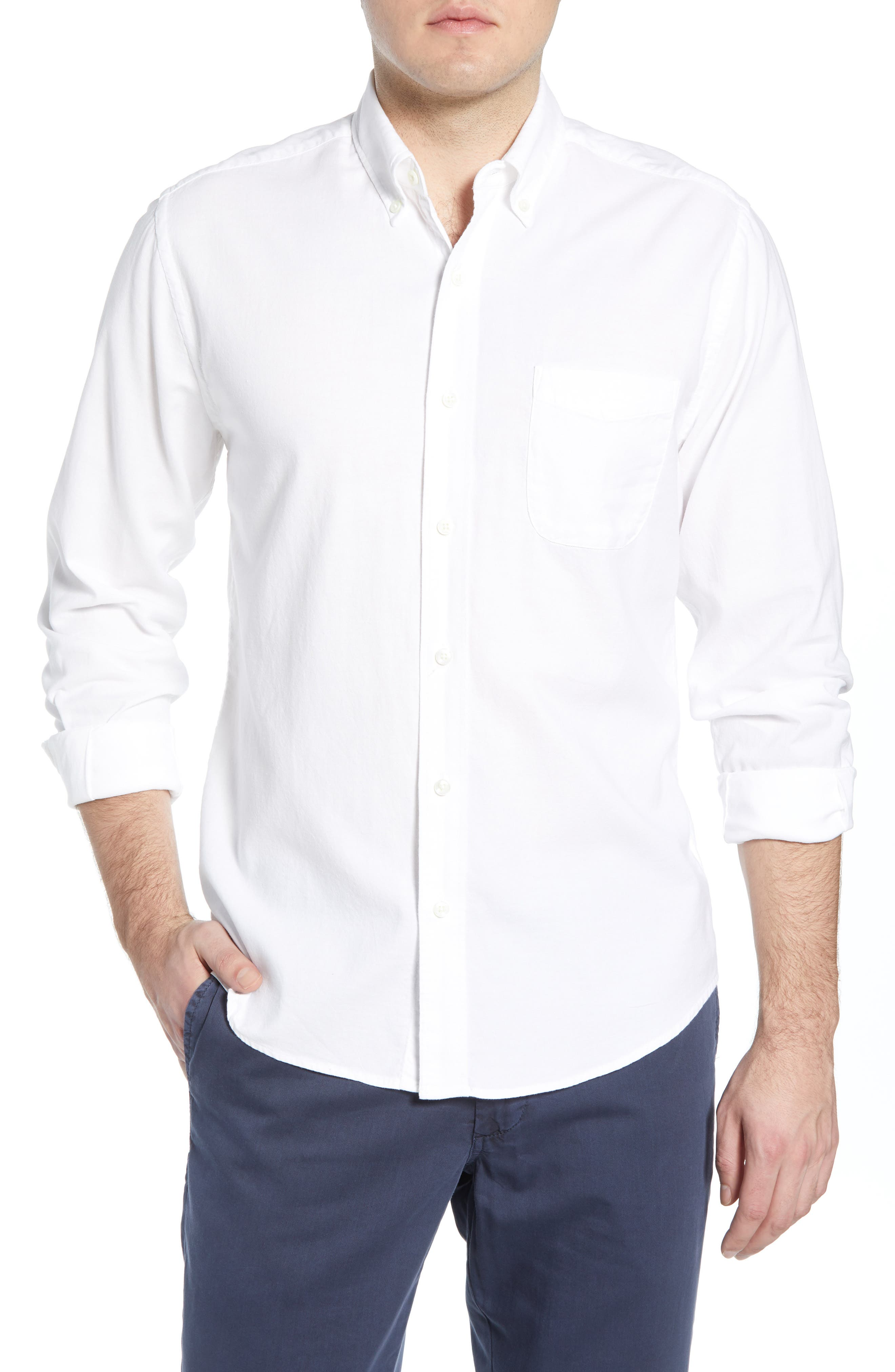 Faherty Regular Fit Stretch Oxford Shirt, White