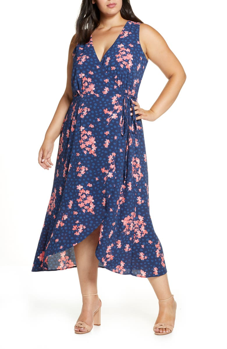 BOBEAU Sleeveless Faux Wrap Maxi Dress, Main, color, FLORAL POLKA DOT