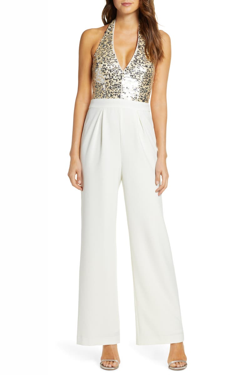 VINCE CAMUTO Sequin & Crepe Halter Jumpsuit, Main, color, IVORY