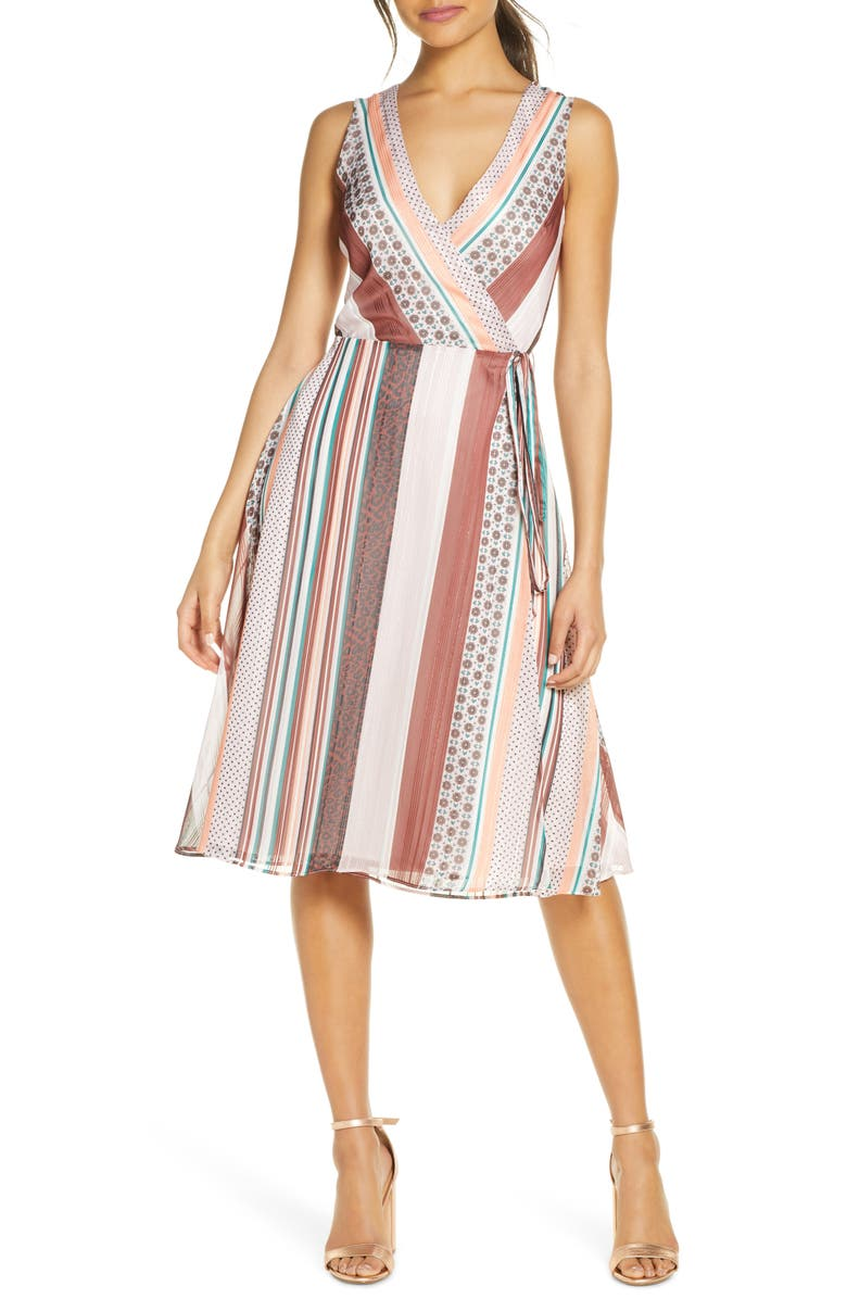 FOREST LILY Mix Print Sleeveless Wrap Dress, Main, color, LILAC/ BROWN COMBO
