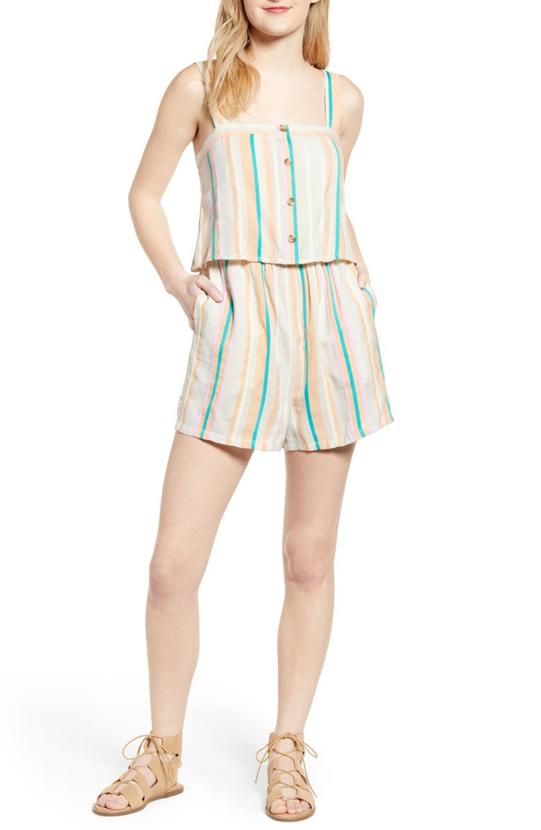 BP. Stripe Popover Romper, Main, color, 900