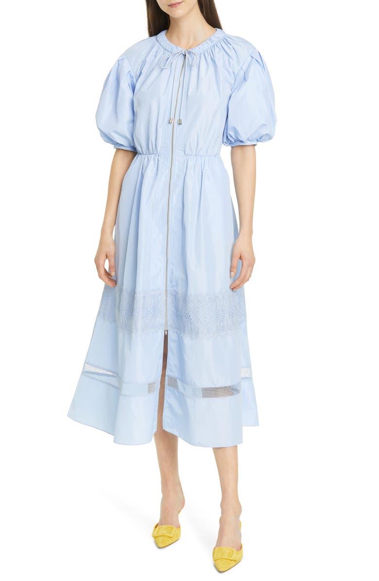 SELF-PORTRAIT Puff Sleeve Zip Midi Dress, Main, color, LIGHT BLUE