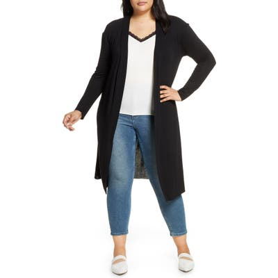Plus Size Dantelle Long Cardigan, Black