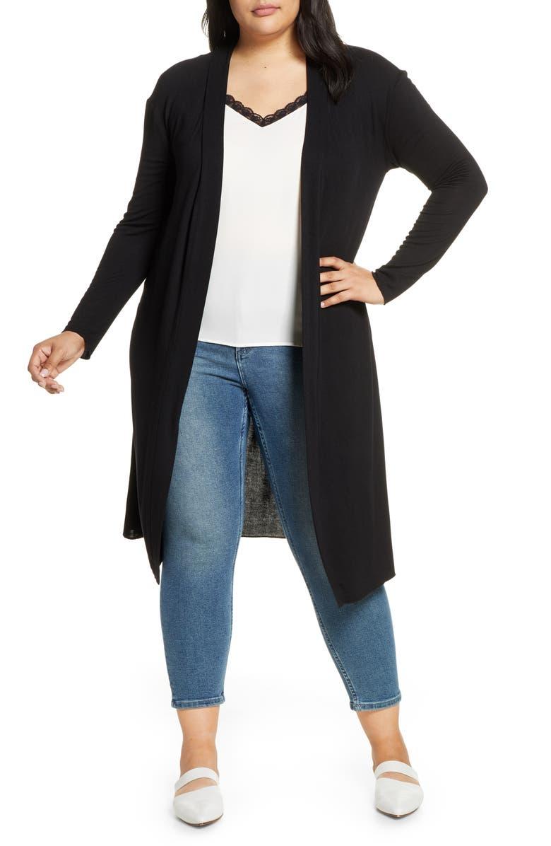 DANTELLE Long Cardigan, Main, color, BLACK