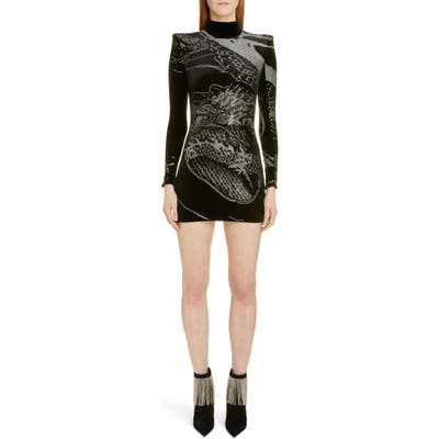Balmain Dragon Rhinestone Long Sleeve Velvet Body-Con Minidress, 46 FR - Black