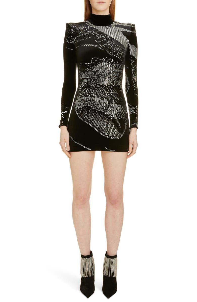 BALMAIN Dragon Rhinestone Long Sleeve Velvet Body-Con Minidress, Main, color, EAB NOIR/ BLANC