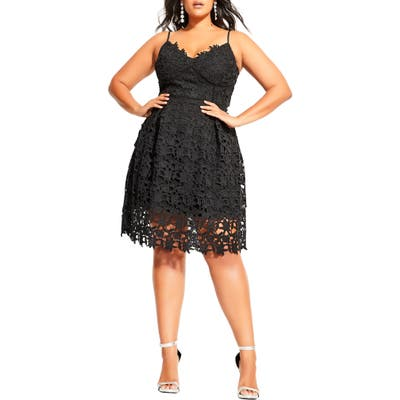 Plus Size City Chic So Fancy Lace Fit & Flare Cotton Dress, Black