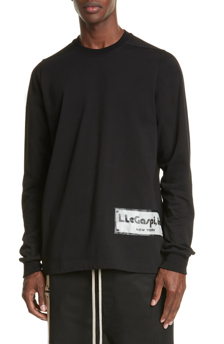 RICK OWENS Long Sleeve Black T-Shirt, Main, color, BLACK