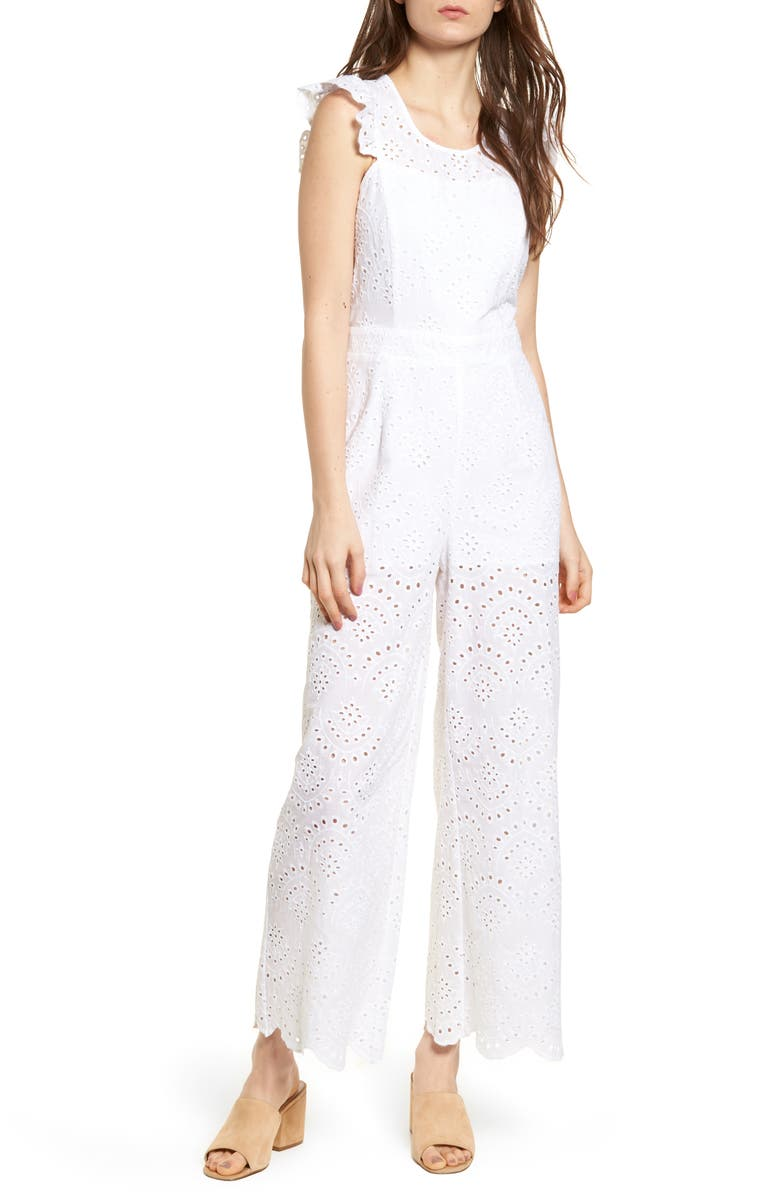 LEITH Eyelet Jumpsuit, Main, color, 100