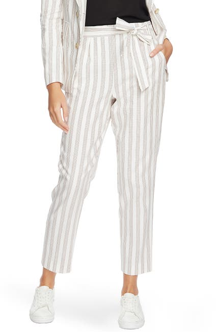 Image of 1.State Striped Tie Waist Tapered Leg Pant