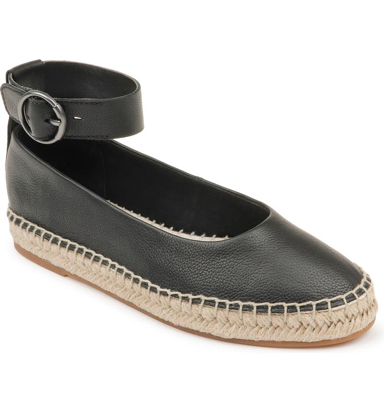 SPLENDID Ace Espadrille Ankle Strap Flat, Main, color, BLACK LEATHER