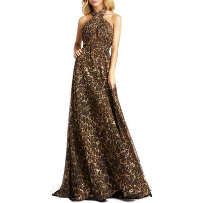 MAC Duggal Animal Print Crossover Halter Neck Gown, Brown