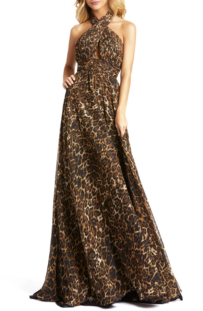 MAC DUGGAL Animal Print Crossover Halter Neck Gown, Main, color, CHEETAHLICIOUS
