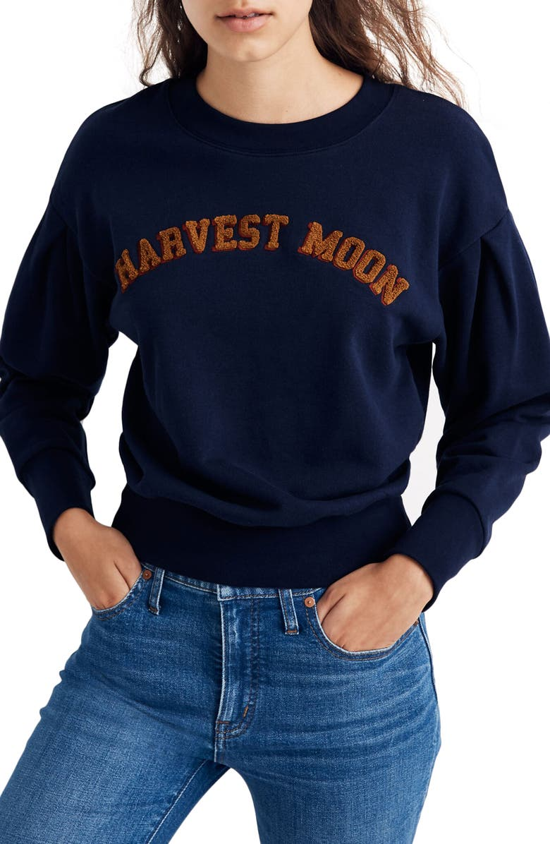 MADEWELL Harvest Moon Pleat Sleeve Sweatshirt, Main, color, DEEP NAVY HARVEST MOON