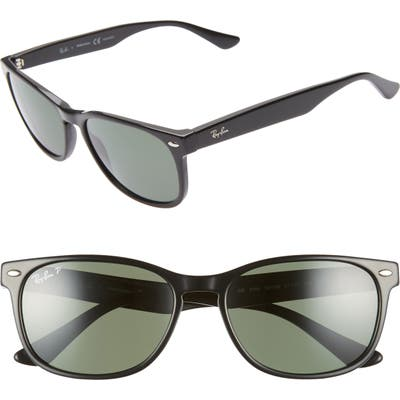 Ray-Ban 57Mm Wayfarer Polarized Sunglasses - Black/ Green Solid