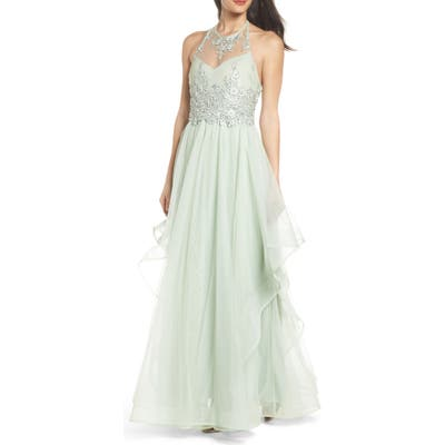 Sequin Hearts Embroidered Halter Gown, Green
