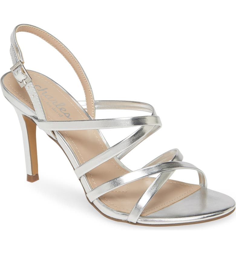 CHARLES BY CHARLES DAVID Howard Sandal, Main, color, SILVER FAUX LEATHER