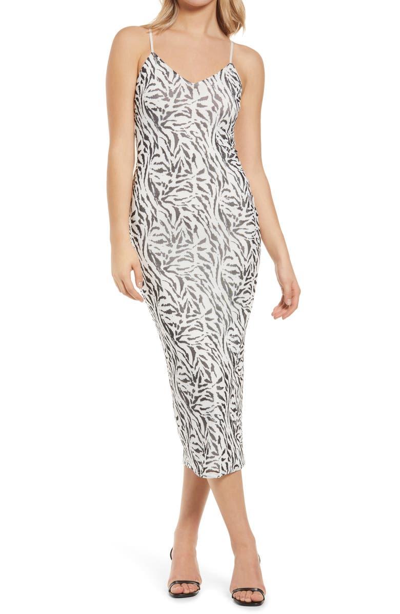 AFRM Amina Sleeveless Midi Dress, Main, color, BLANC ZEBRA