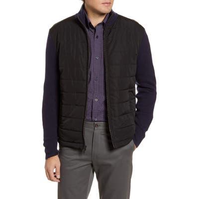 Nordstrom Shop Mixed Media Sweater Jacket, Blue