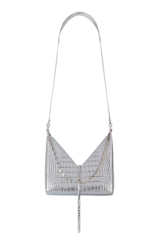 Givenchy Leathers SMALL CUT-OUT CROC EMBOSSED METALLIC LEATHER SHOULDER BAG