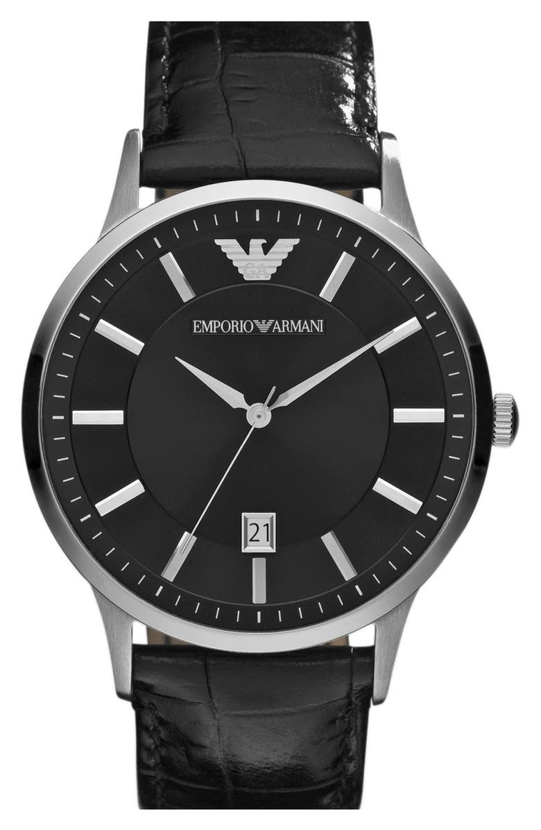 EMPORIO ARMANI Slim Leather Strap Watch, 43mm, Main, color, 001