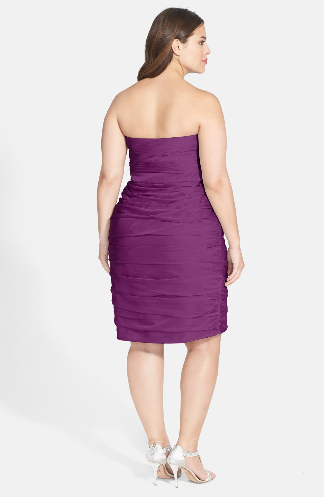 ,                             Ruched Strapless Cationic Chiffon Dress,                             Alternate thumbnail 50, color,                             500