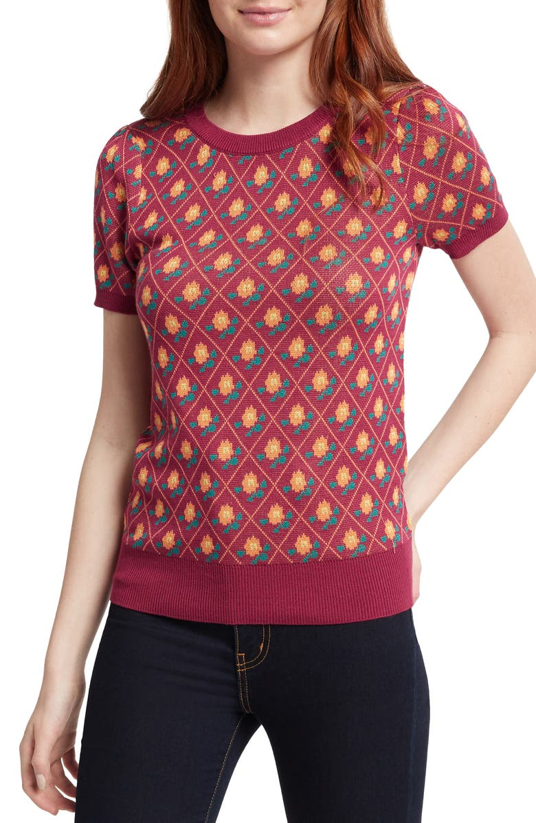 MODCLOTH Vintage Print Short Sleeve Cotton Blend Sweater, Main, color, 930