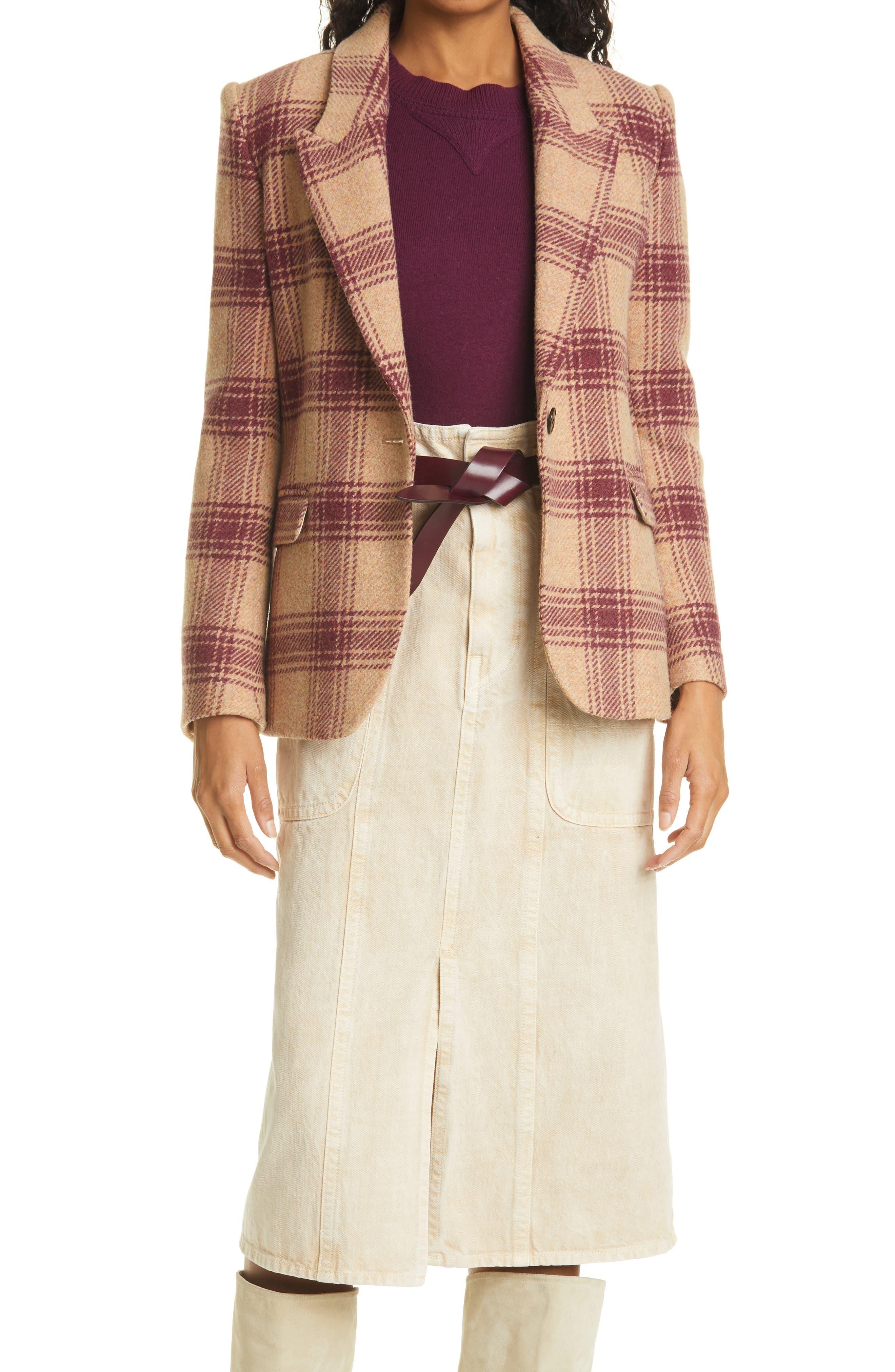 Women's Isabel Marant Etoile Kerstin Check Virgin Wool Blazer