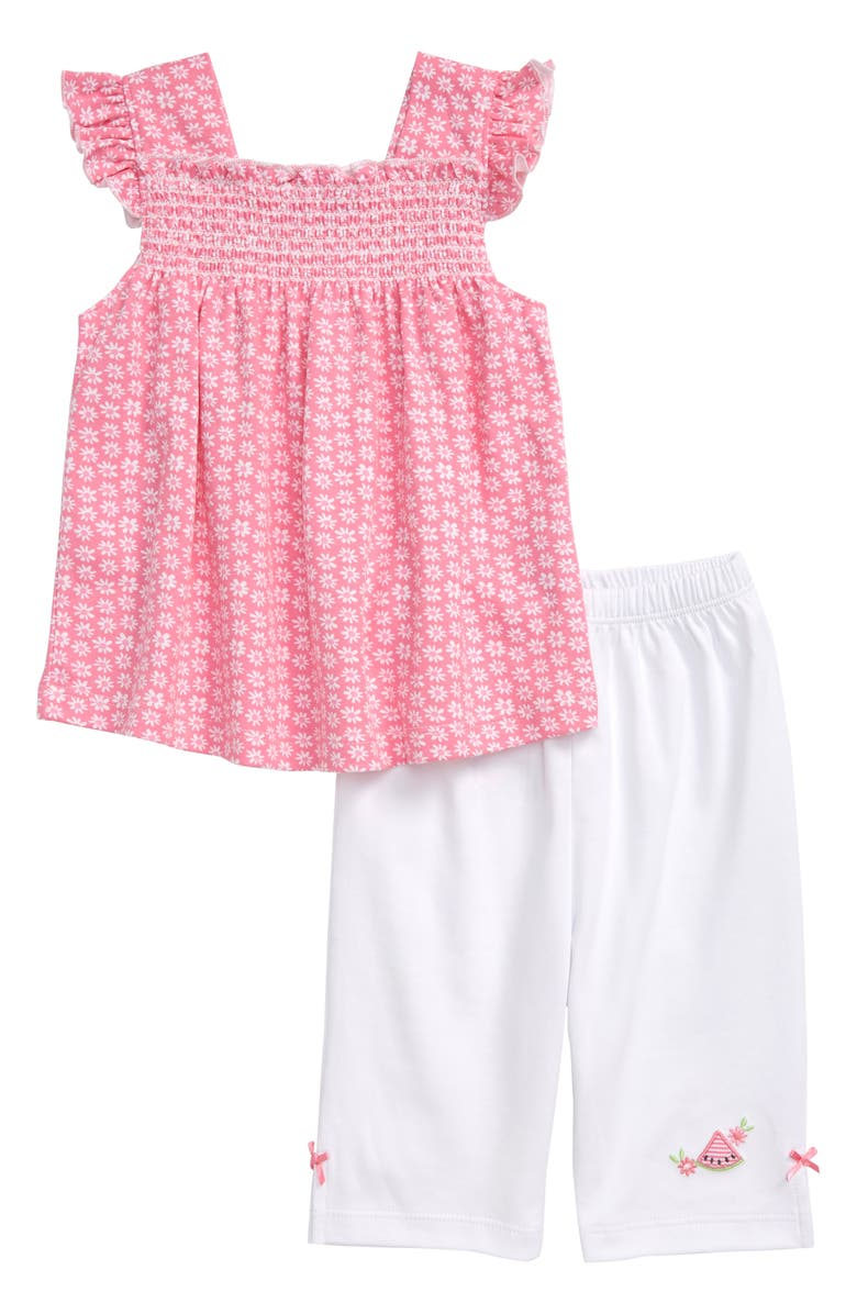 KISSY KISSY Watermelon Flutter Sleeve Smocked Top & Capri Pants Set, Main, color, 650