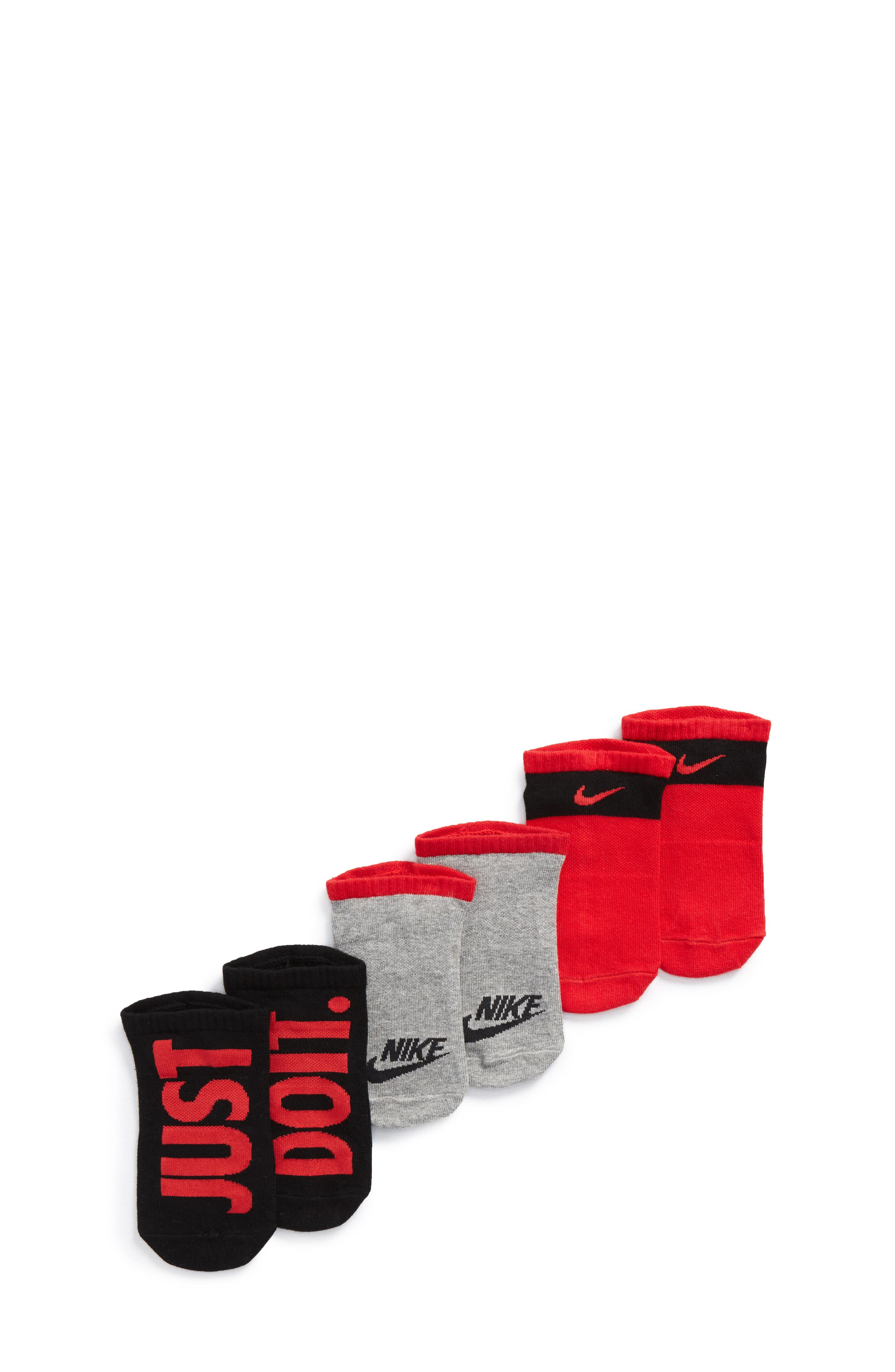 Performance 3-Pack No-Show Socks, Main, color, RED