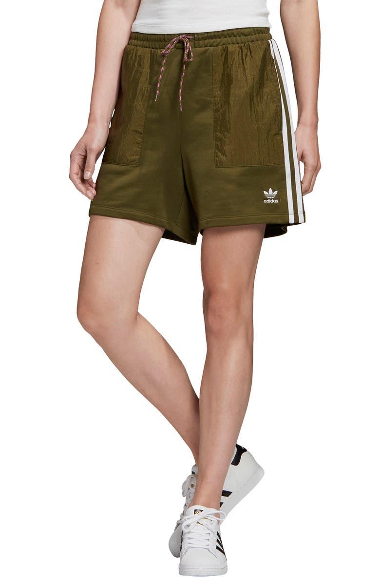 ADIDAS ORIGINALS 3-Stripes Shorts, Main, color, DUST GREEN