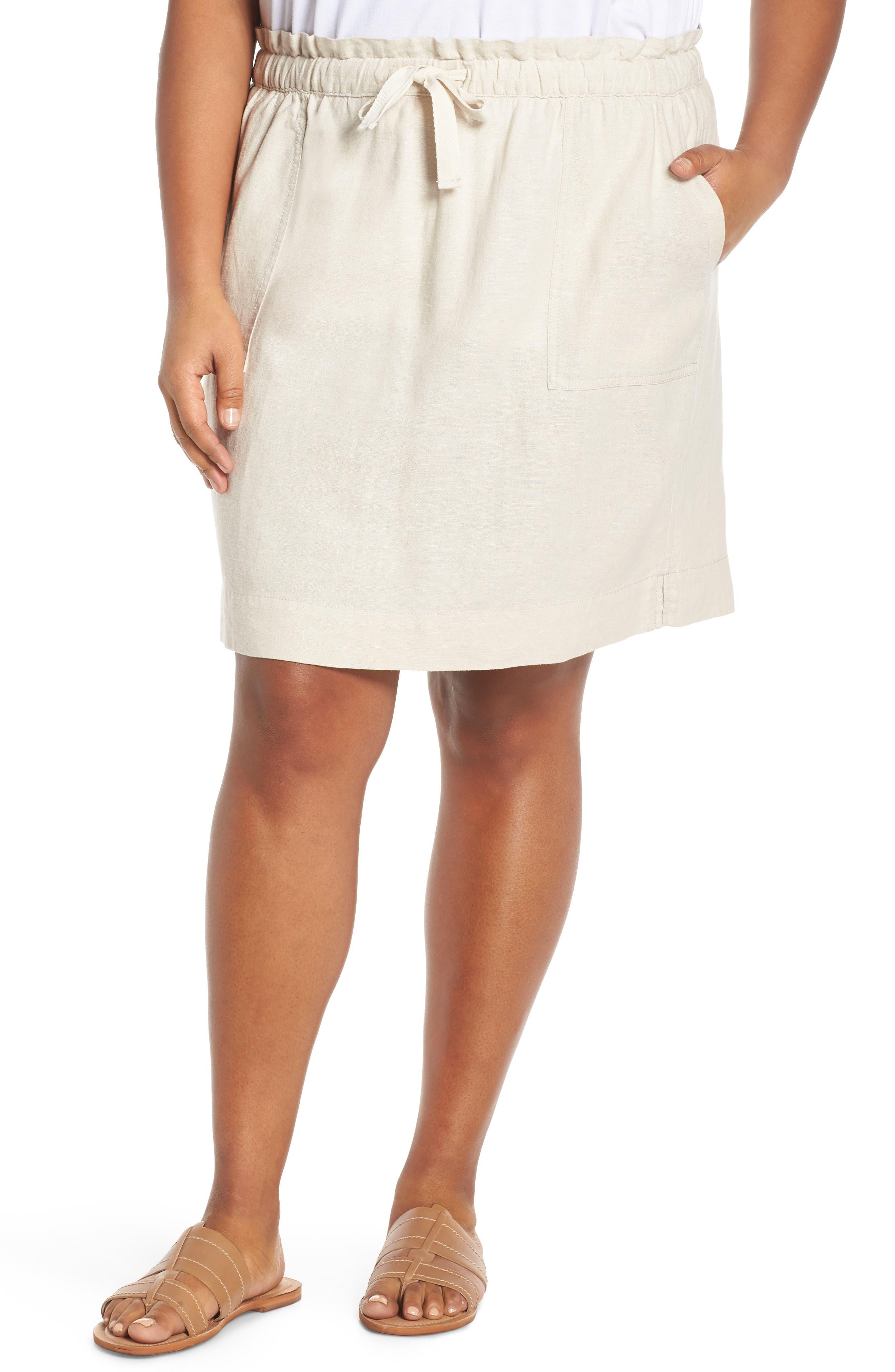 Plus Size Caslon Paperbag Waist Linen Blend Skirt, Beige