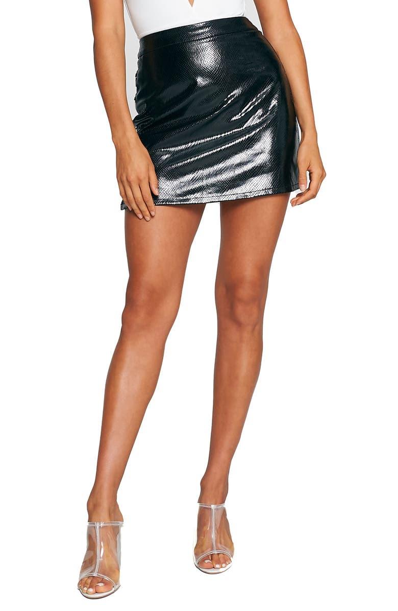 TIGER MIST Aria Faux Leather Skirt, Main, color, BLACK