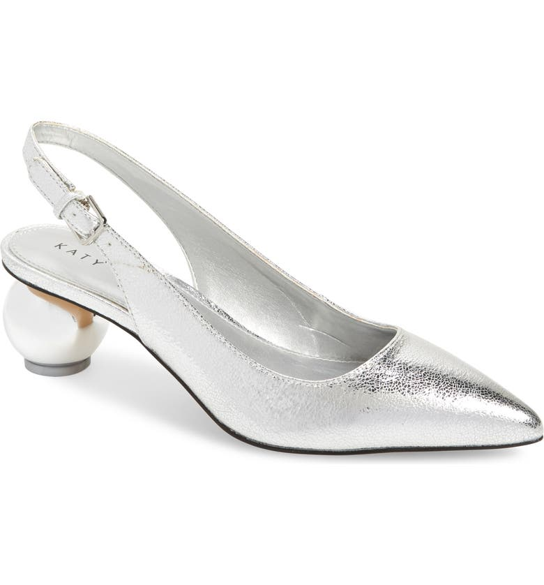 KATY PERRY The Adora Slingback Pointed Toe Pump, Main, color, SILVER FAUX LEATHER