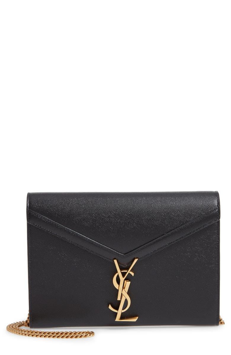 SAINT LAURENT Cassandra Leather Wallet on a Chain, Main, color, 001