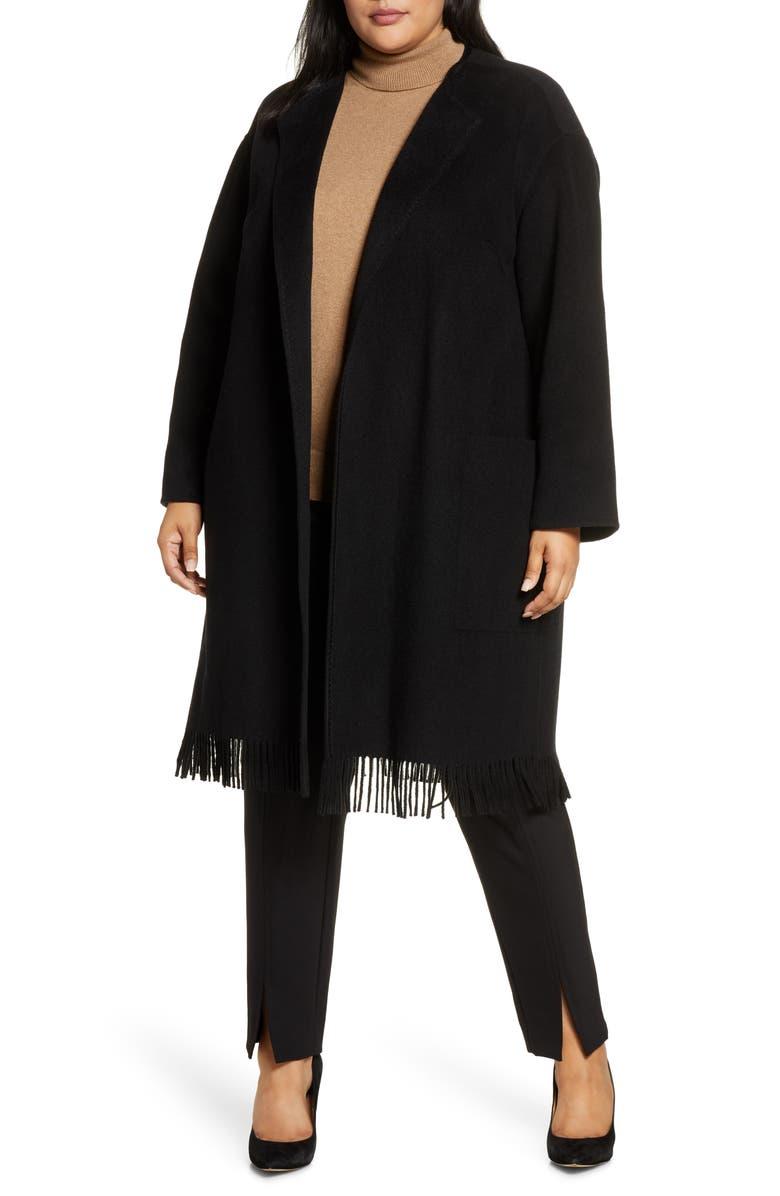 LAFAYETTE 148 NEW YORK Barnett Fringe Trim Cashmere Coat, Main, color, 001