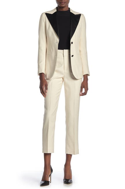 Image of SUISTUDIO Lane Silk Blend Crop Tuxedo Trousers