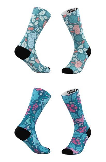 Tribe Socks Socks ASSORTED 2-PACK WINTER SKATER & WINTERY MIX CREW SOCKS