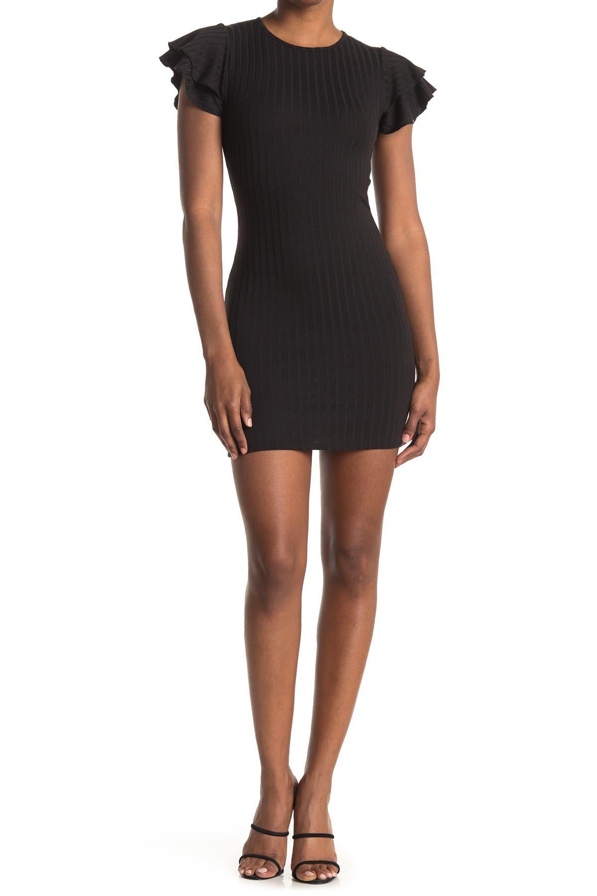 Image of Velvet Torch Ruffle Sleeve Ribbed Bodycon Mini Dress