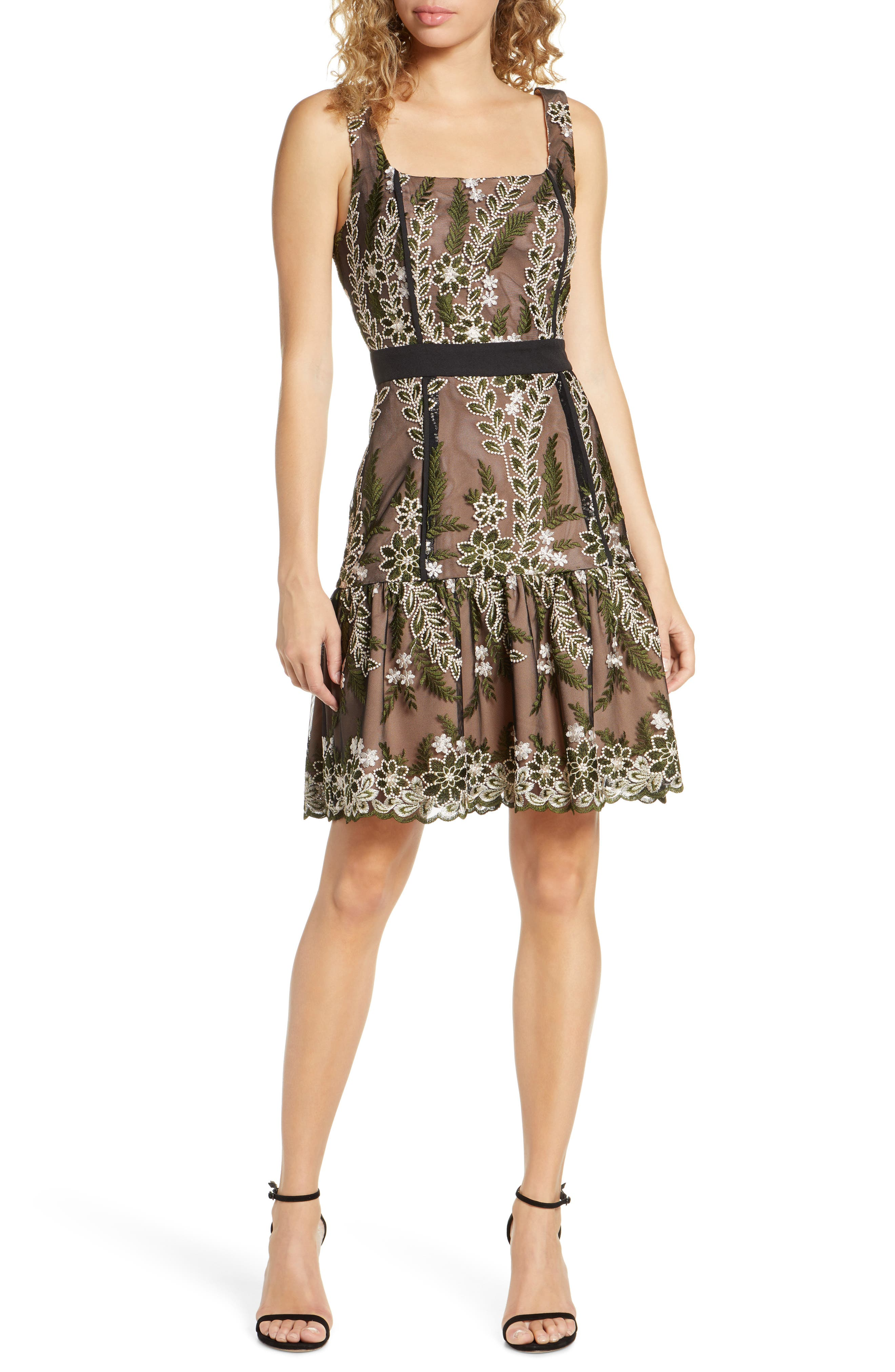 Harlyn Embroidered Floral Fit & Flare Dress, Black