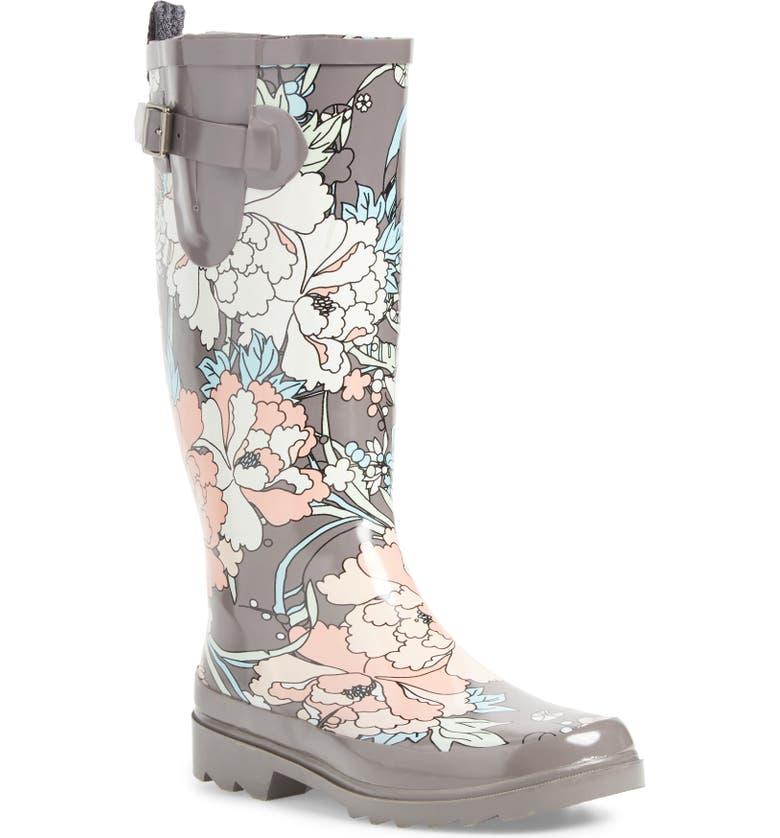 SAKROOTS Rhythm Waterproof Rain Boot, Main, color, CHARCOAL FLOWER POWER