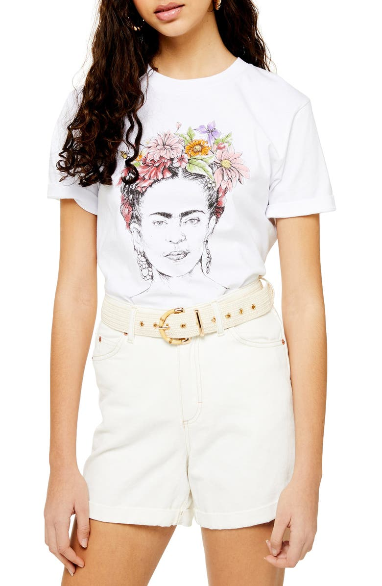 TOPSHOP by Tee & Cake Frida Kahlo Tee, Main, color, WHITE MULTI