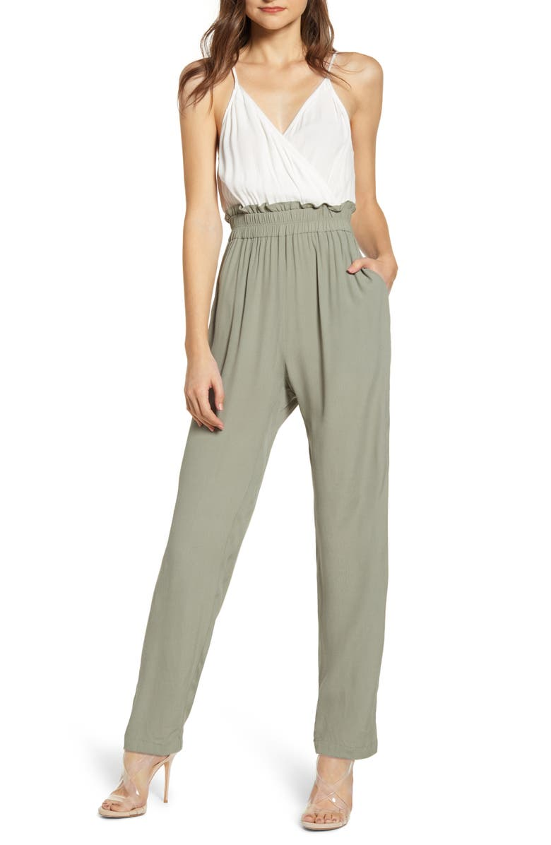 LEITH Surplice Paperbag Detail Jumpsuit, Main, color, 310