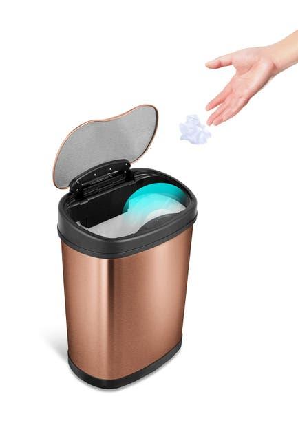 Image of NINESTARS 15L Gold Stainless Steel Sensor Trash Can