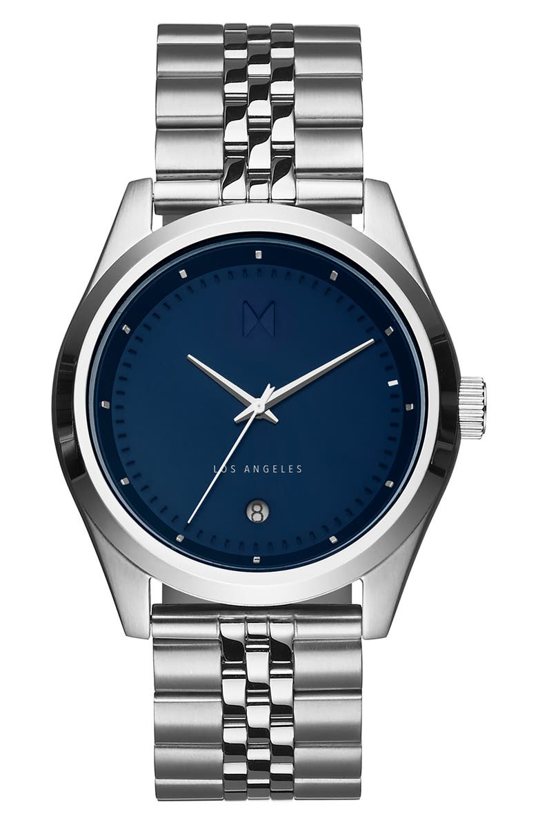 MVMT Time Crusher Bracelet Watch, 39mm, Main, color, BLUE/ SILVER