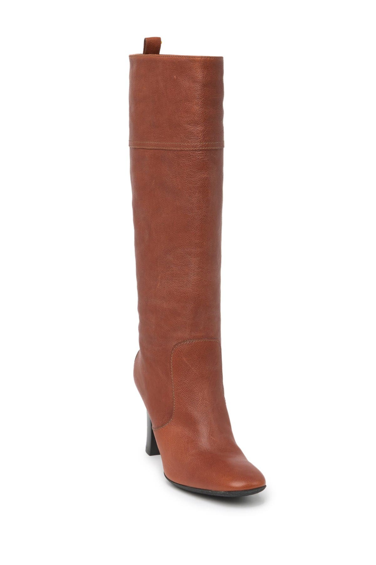 Image of Tod's Tall Leather Block Heel Boot